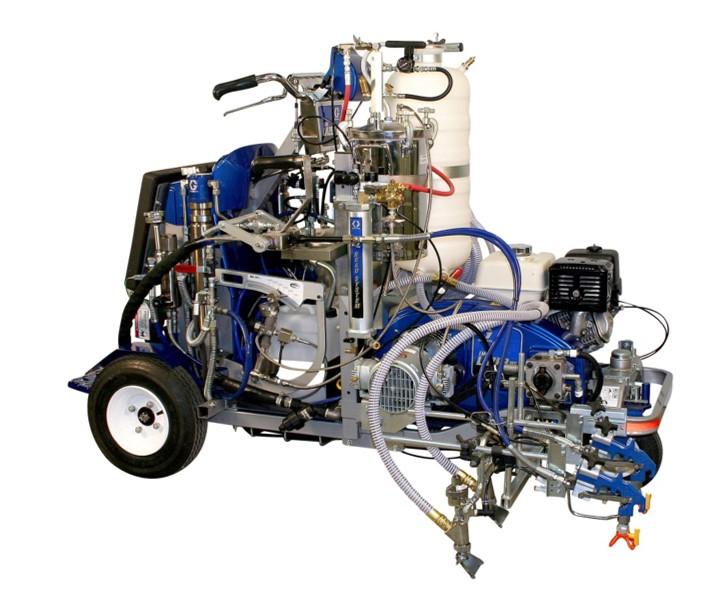 Masina de marcaj rutier autopropulsata Graco tip LINE LAZER V 250 98:2, pentru aplicare vopsea bi-component, cu rata de amestec 98:2